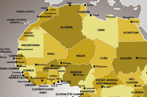 Afrika Terkep Fovarosokkal