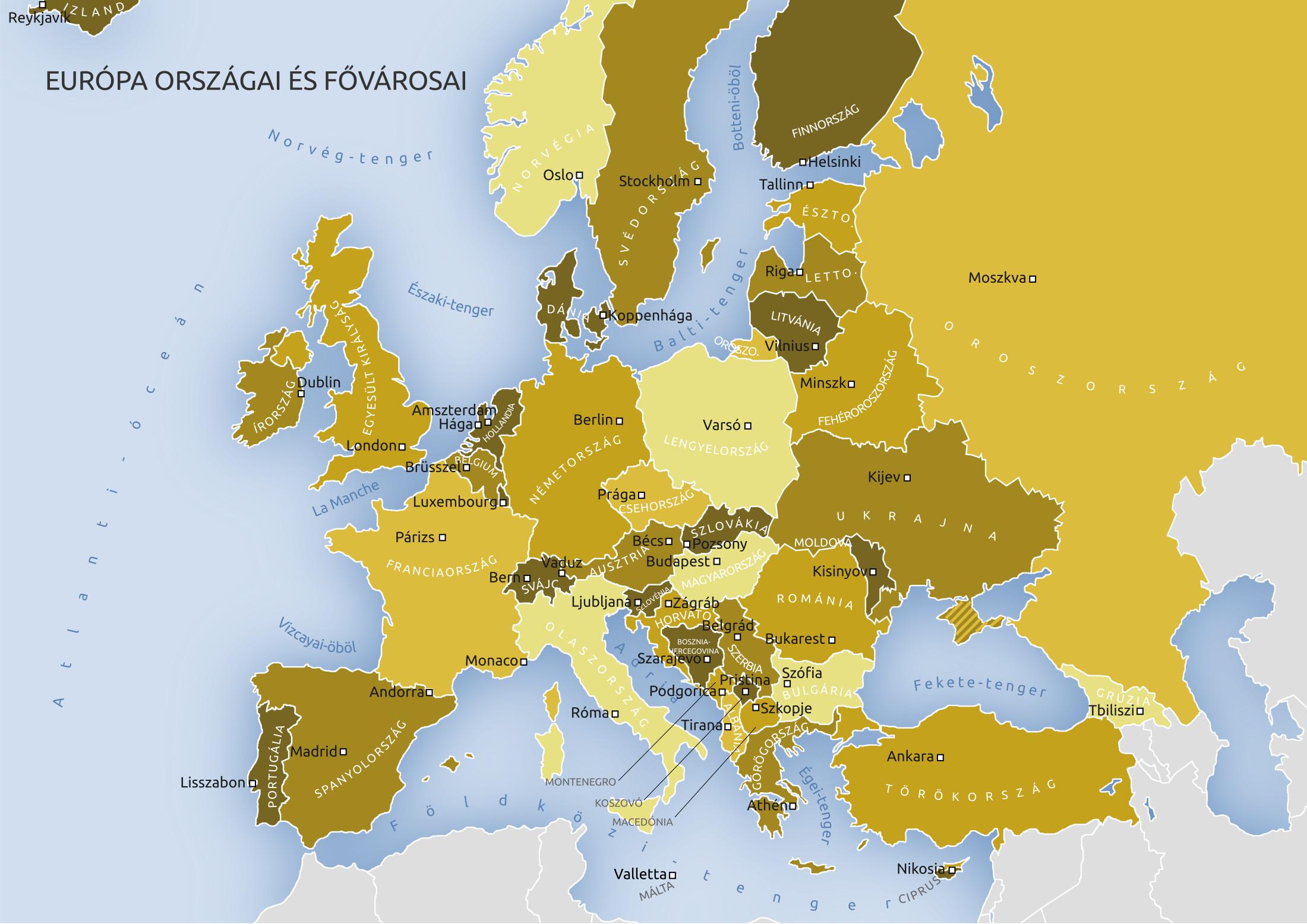 európa térkép városokkal Európa országai fővárosokkal európa térkép városokkal