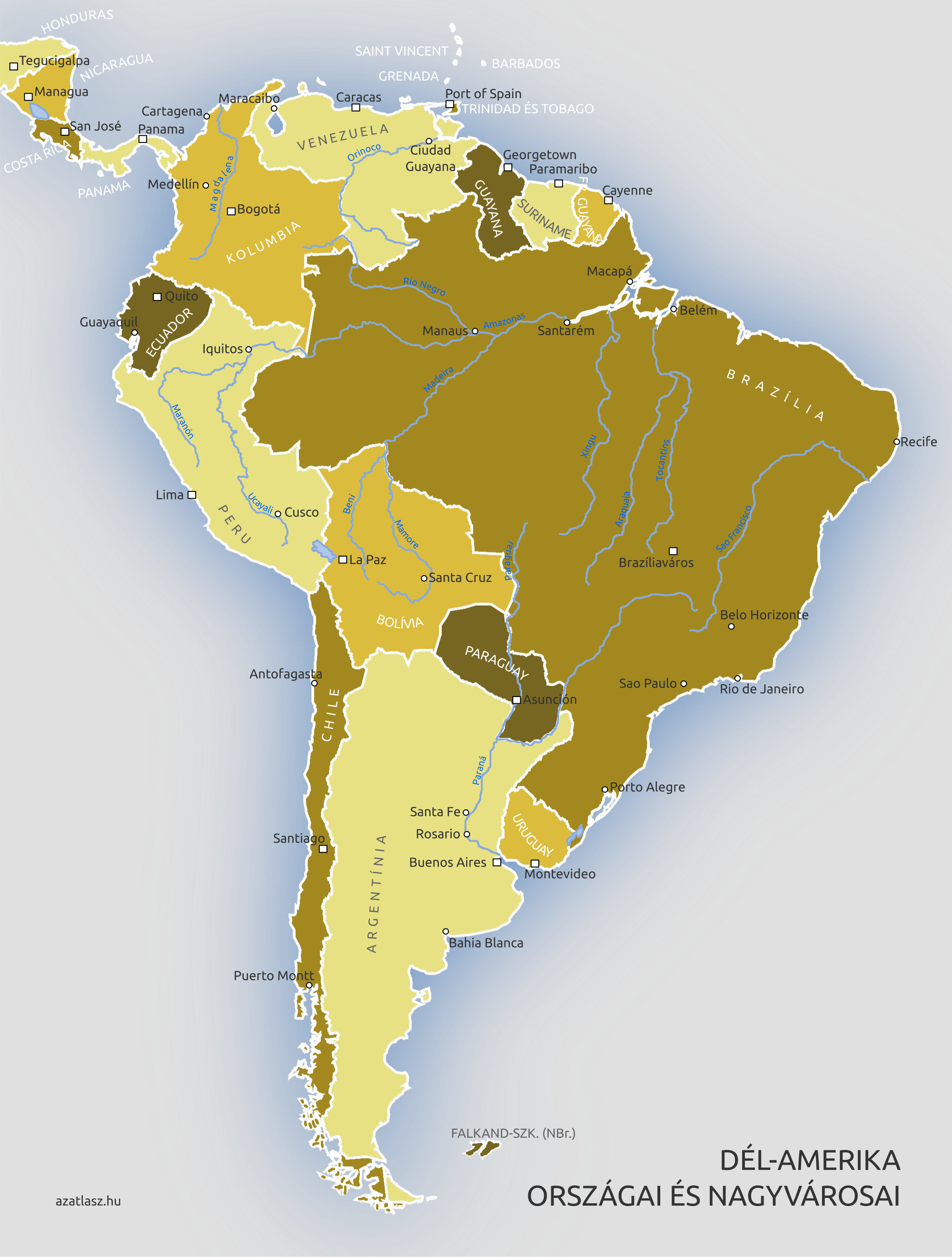 amerika országai térkép Dél Amerika országai és fővárosai amerika országai térkép