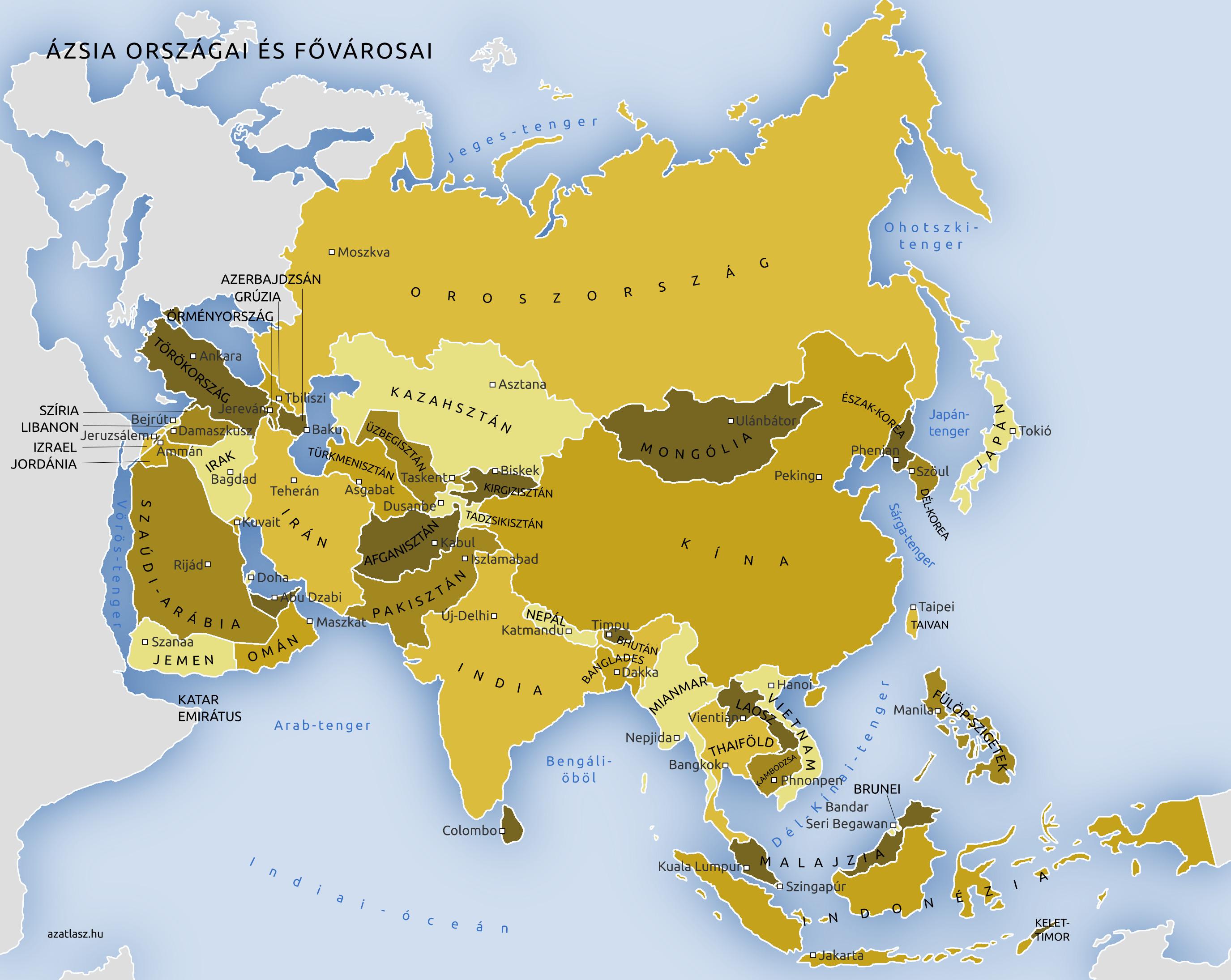 délkelet ázsia térkép Ázsia országai és fővárosai térkép délkelet ázsia térkép